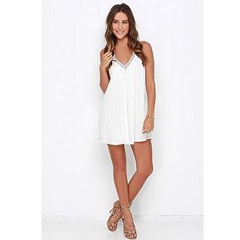 Vovotrade Las mujeres gasa cuello en V sin mangas de encaje de playa por encima de rodilla mini vestido corto Blanco: Amazon.es: Ropa y accesorios