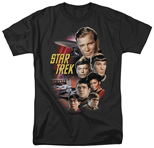 Trevco Men's Star Trek Original the Classic Crew T-Shirt, Black, Small