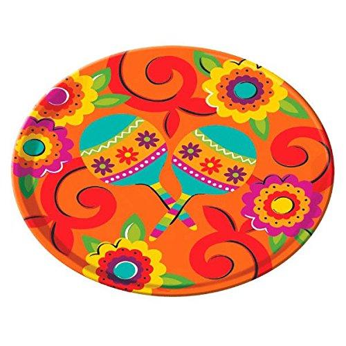 amscan Fiesta Caliente Cinco de Mayo Party Round Melamine Platter Serveware, Plastic,13