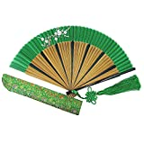 Wise Bird Chinese Japanese Folding Hand Fan for women, Summer Cooling Accessories Vintage Retro Style 8'' Bamboo Wood Silk Pocket Purse Fan for Wedding Dancing Home Wall Decor with Pouches/tassel-f101