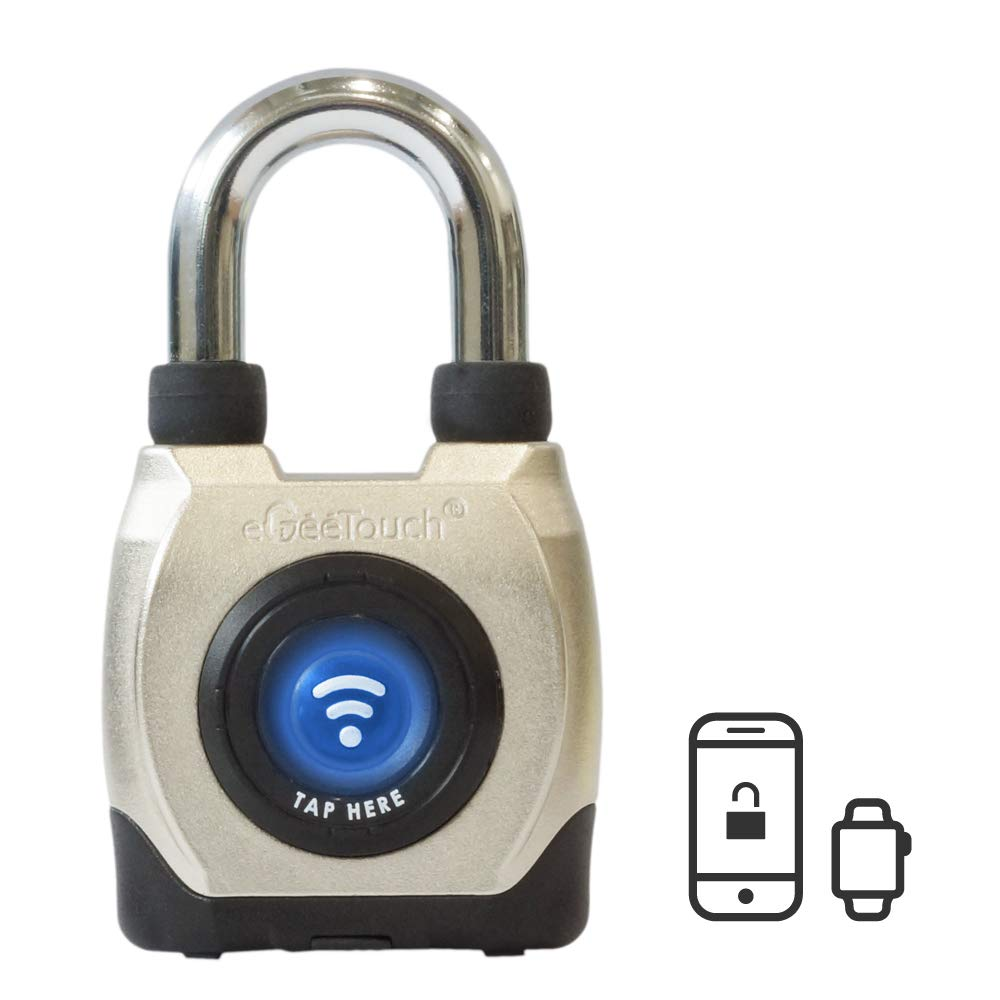 eGeeTouch Outdoor Smart Padlock 3rd Gen, Weatherproof, Rugged Design for Commercial use, Bluetooth c/w NFC Fob (Short Shackle) by eGeeTouch