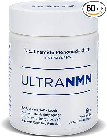 UltraNMN Nicotinamide Mononucleotide NAD+ Supplement,Vitamin B3 Family, 260 mg per Serving - NAD+ Precursor Help Promote DNA Repair,Boost Energy,Longevity,Improve Metabolism - 60 Capsules