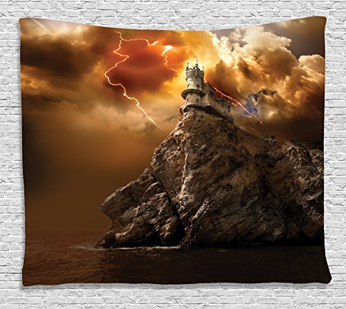 Ambesonne Fantasy Tapestry, Fantasy Castle on Top of The Cliff with Thunder Supernatural Place Fiction Print, Wall Hanging for Bedroom Living Room Dorm, 60 W X 40 L Inches, Orange Brown