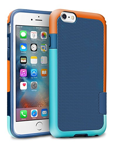 iPhone 6S Case, TILL(TM) [Ultra Hybrid] iPhone 6 / 6S (4.7 Inch) Case Hybrid Best Impact TPU Shockproof Rugged Matte Shell Exact-Fit Dual Protection Silm Back Strips Anti-slip Cover Case [Blue/Orange]