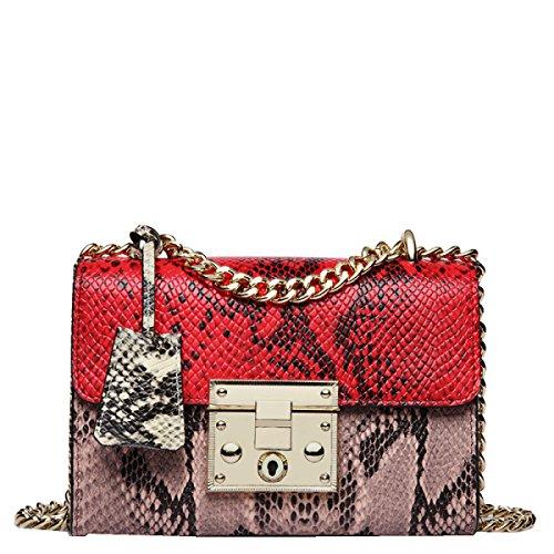 Yy.f Nuevos Bolsos De Cuero De Moda Cadena De Serpiente De Paquete Cuadrado Pequeño Grande Señoras Pequeño Paquete Cuadrado De 3 Colores Red