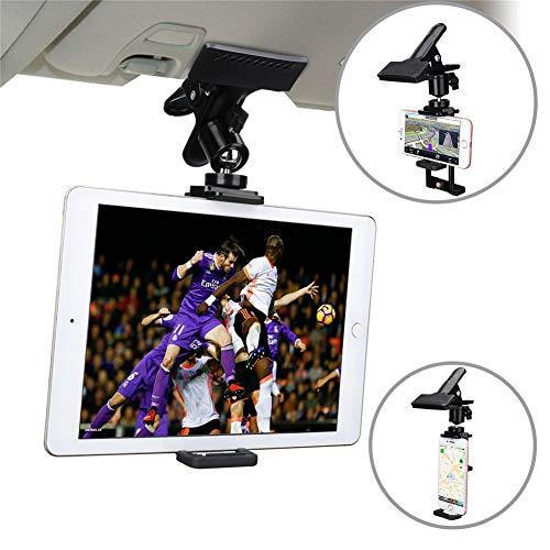 MOTOBA 2 in 1 Phone Tablet Holder Mount, Car Visor Cradle for iPad Pro Air Mini iPhone Samsung Galaxy (Tablet & Phone) ()