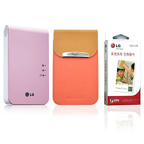 [SET] New LG Pocket Photo PD241 PD241T Printer [Pink] (Follow-up model of PD239) + Zink Photo Paper [30 Sheets] + Popo Premium Synthetic Leather Pouch Case [Coral Pink]