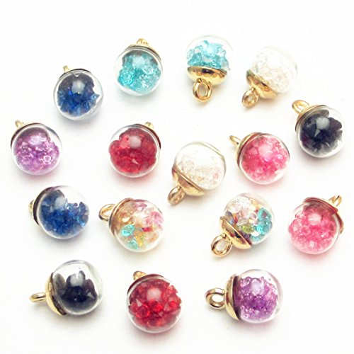 Dandan DIY 16pcs 12mm(0.48'') Colorful Mix Lots Assorted-Colors Antique Charms Glass Ball with Tiny Shiny Rhinestone Beads Pendant Craft Accessory Diy Necklace Bracelet Craft Jewelry Making - Glass Pendant Bracelet