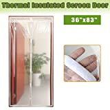 Magnetic Thermal Screen Door Curtain, Insulated Door Covering for Warm Winter & Cool Summer, Transparent Plastic Door Curtains Fit Doors Up to MAX 34'x82'