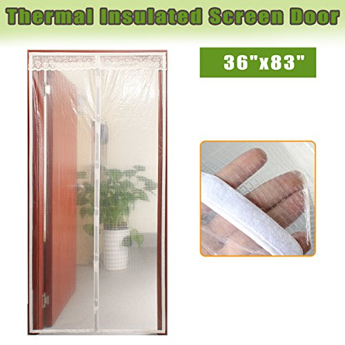 Magnetic Thermal Screen Door Curtain, Insulated Door Covering for Warm Winter & Cool Summer, Transparent Plastic Door Curtains Fit Doors Up to MAX 34