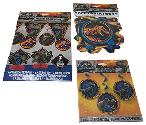 BashBox Jurassic World Fallen Kingdom Birthday Party Supplies Decor Pack Including 7 Piece Room Decorating Kit, Hanging Swirl Decorations and Jointed Banner -