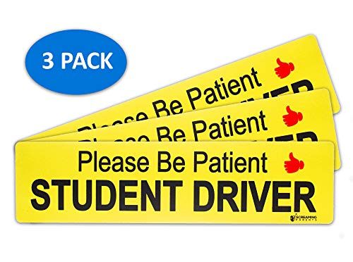 Screaming Parents Student Driver Magnet for Car - Vehicle Bumper Reflective Safety New Student Driver Sticker - Bigger Size Reusable Magnetic Car Sign - 13.75 x 3.5 Inch - Large Bold Text, Set of 3