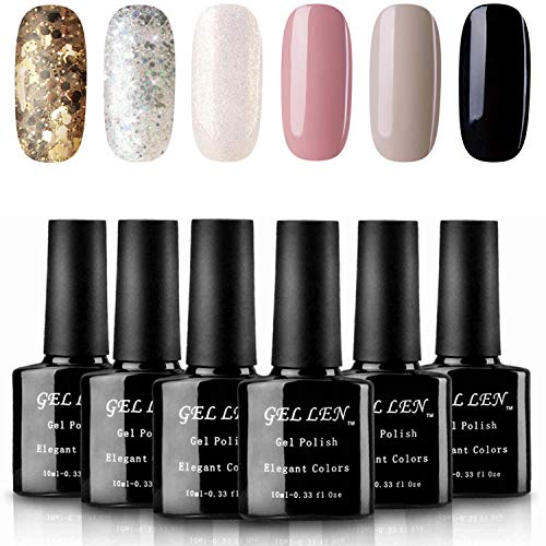 - Gellen UV Gel Nail Polish 6 Colors Set - Golden Silver Sparkle White Shimmering Pure Gray Black