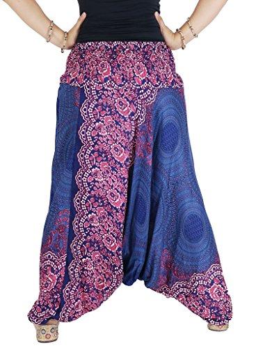 AuthenticAsia–panal Collection- Super suave pulgadas 2en 1pantalones de harén y mono Azul