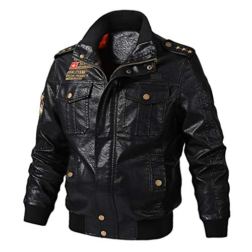 Opinionated Men's Leather Motorcycle Jacket Vintage Stand Collar Leather Jacket Motorcycle PU Faux Leather Outwear
