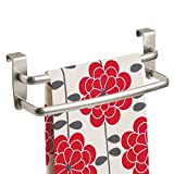 kitchen bar cabinet mDesign Modern Kitchen Over Cabinet Strong Steel Double Towel Bar Rack - Hang on Inside or Outside of Doors, Storage and Organization for Hand, Dish, Tea Towels - 9.75