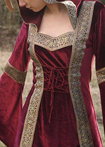 Mittelalterkleid Lyra bordeaux Kapuze Samtkleid Larpkleid Wikingerkleid mit nHdqwwI
