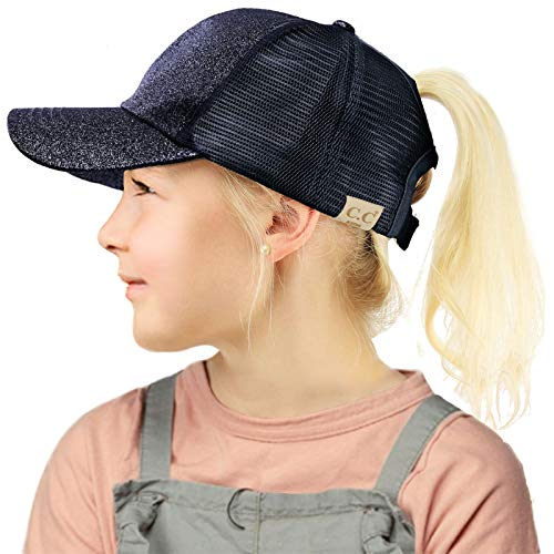 C.C Kids 2-7 Ponytail Messy Buns Ponycaps Baseball Visor Cap Hat Glitter -