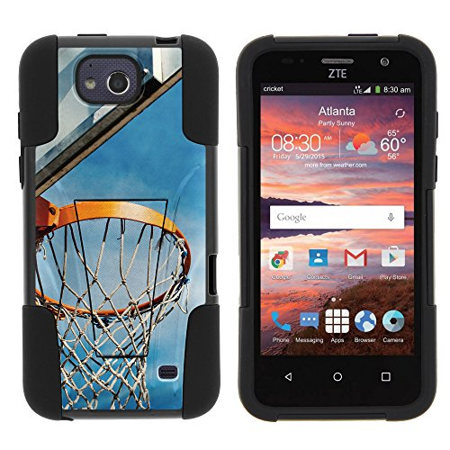 ZTE Maven Case Z812, Hard Rugged SHOCK Impact Case Kickstand - Basketball Sports Collection - for ZTE Overture 2, Maven, Fanfare, Atrium, Scend, Z793C Z791G by MINITURTLE - Basketball Hoop