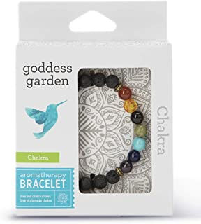 product image for Goddess Garden - Chakra Aromatherapy Bracelet - On-The-Go Essential Oil Diffuser Jewelry, Genuine Stones, Natural Beads, Balancing Lava Rock and Multi-Colored Rainbow Chakra Stones for Men and Women