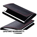 Professional Basics Ultra Slim Leather Business Card Holder with Gift Box