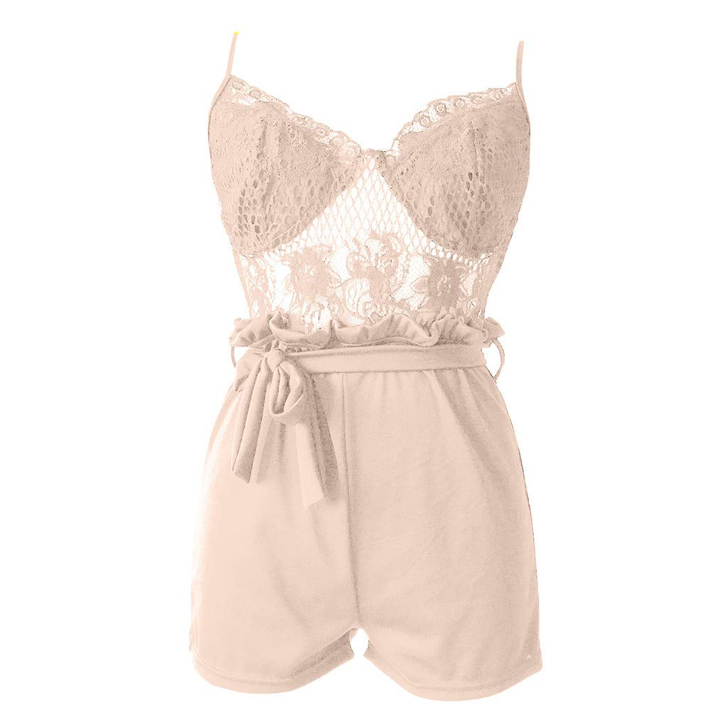 B2keevin Summer Fashion Women Lace Jumpsuits Vest Tank Top Casual Playsuit Short Pants