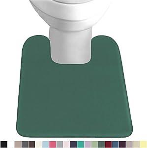 Gorilla Grip Original Thick Memory Foam Contour Toilet Bath Rug 22.5x19.5, Square, Cushioned, Soft Floor Mats, Absorbent Cozy Bathroom Rugs, Machine Wash and Dry, Plush Bath Room Carpet, Emerald