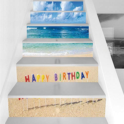 Stair Stickers Wall Stickers,6 PCS Self-adhesive,Birthday Decorations,Happy Birthday Sign on the Tropical Beach in Hawaii Sweet Surprise,Multicolor,Stair Riser Decal for Living Room, Hall, Kids Room D