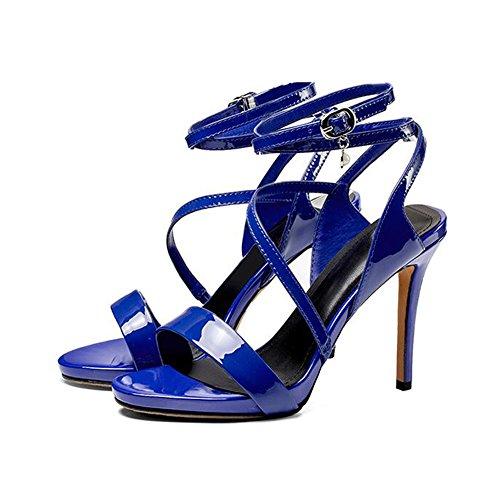 Sexy Mme Verni 10cm Hauts Métal En Boucle Cuir Bleu 10cm 6cm Summer Talons 7 Sandales Banquet 5cm gwqExzBII