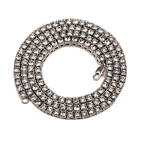 Hip-Hop Mens jewelry Silver Plated Out 1 Row Necklace Simulated Diamond 24
