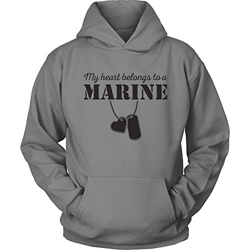 Egoteest USMC Hoodie - My Heart Belongs To a Marine - Marine Corps USMC Girlfriend Hoodie - US Army Girlfriend Shirt - I Love a Marine (Gray, XLarge)