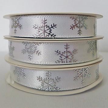 9mm Wide Silver Snowflakes on White Ribbon Grosgrain Ribbon 3 Meters