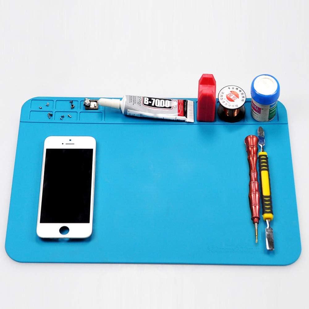 YGSAT Tapis /à souder r/ésistant /à la chaleur en silicone r/ésistant /à la chaleur Tapis de travail en silicone pour appareil photo /électronique et portable 20 x 30 cm