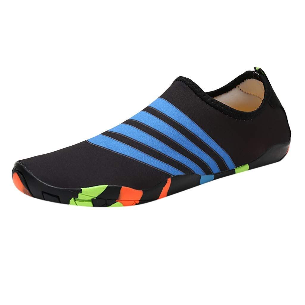 NUWFOR Couple Beach Shoes Swimming Shoes Water Shoes Barefoot Quick Dry Aqua Shoes(Black,7.5 M US Length:9.5'')