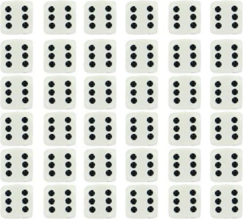 Chessex Opaque 12mm d6 White w/Black Dice Block 36 Dice