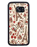 Samsung Galaxy S7 Edge France Paris Love City Eiffel Tower Floral Pattern Black Shell Cover Case,Newest Case