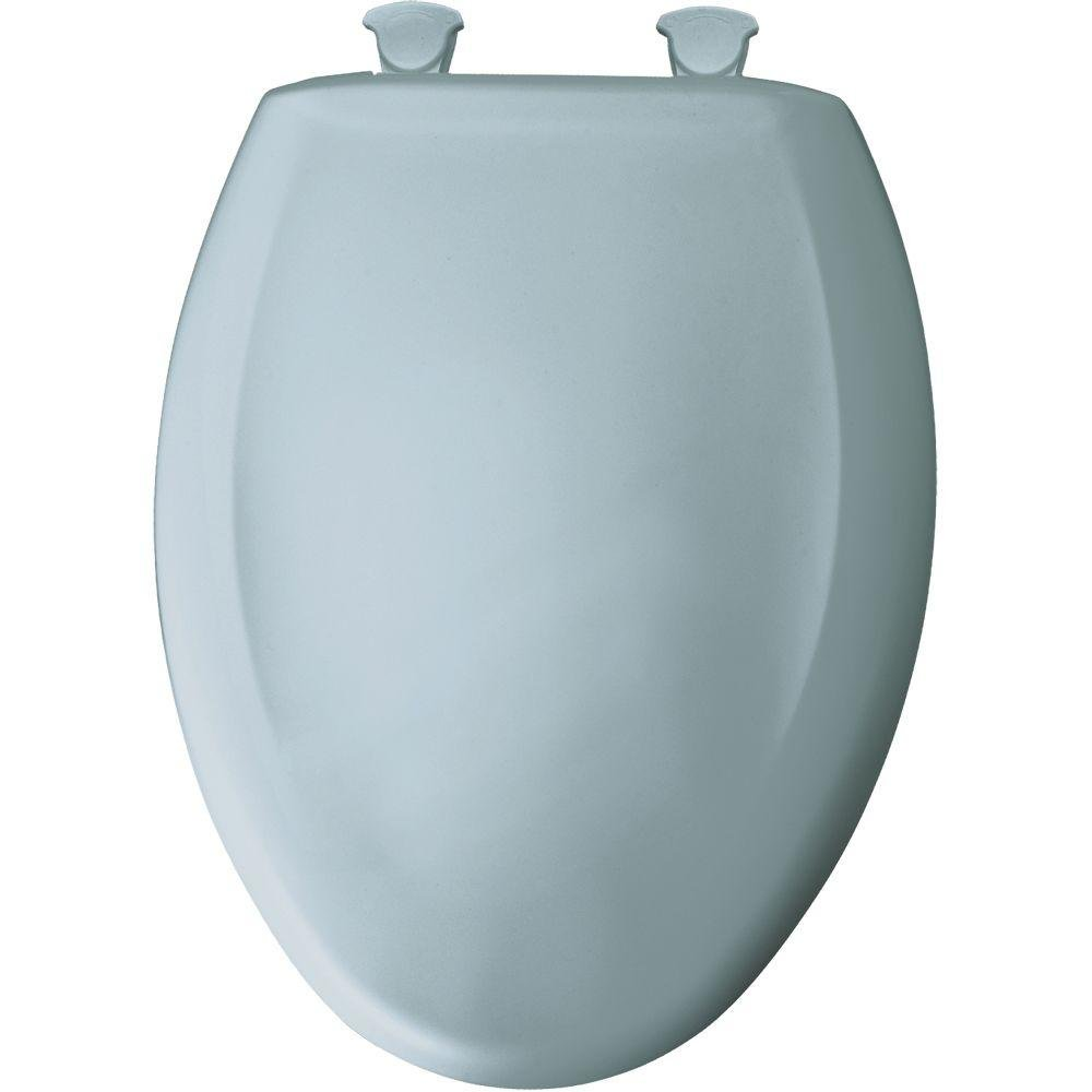 Bemis 1200SLOWT 344 Elongated Closed Front Plastic Toilet Seat with Cover, Easy Clean , Heron Blue