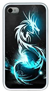 IMARTCASE iPhone 4S Case, Blue Dragon Symbol Case for Apple iPhone 4S/5 TPU - White