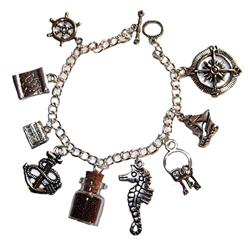 Price comparison product image Disney's PIRATES OF THE CARIBBEAN Themed Silvertone Metal Charm BRACELET