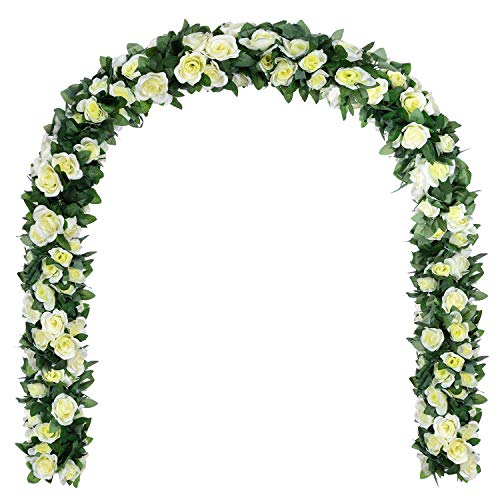 DearHouse Artificial Flower Rose Vine Garland 8FT/Piece Realistic Artificial Flowers Fake Roses Flowers Plants for Home Kitchen Wedding Party Garden Craft Art Decor (2 Pack, White)