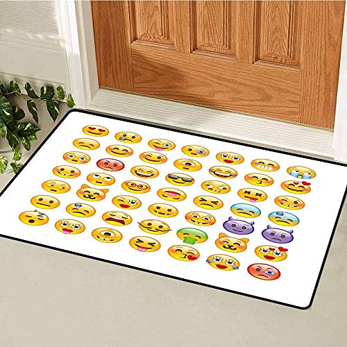 Gloria Johnson Emoji Commercial Grade Entrance mat Set of Emoticons with Various Expressions Alien Vomiting Beaten Up in Love Vampire for entrances garages patios W31.5 x L47.2 Inch Multicolor