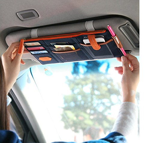 Tuopuda Multi-purpose Auto Car Sun Visor Organizer Pouch Bag Card Storage Pen Holder Blue