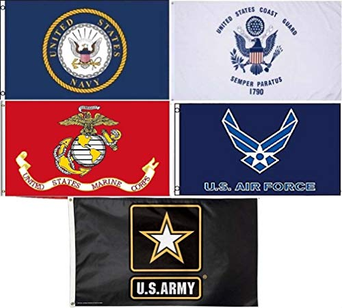 Wholesale Lot 5 3x5 Branches Military USAF USCG USMC Army Navy Set Flag 3'x5' #6 Fade Resistant Double Stitched Premium Quality ()