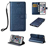 iPhone 6 Cute Elephant Pattern Case,[Stand Feature] [2 Card Slots] [Money Pocket] Synthetic Leather 4.7inch iPhone 6 Wallet Case with Screen Protector And Stylus Pen (Blue)