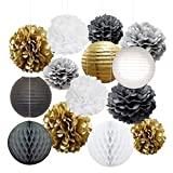 Party Decorations,Tissue Paper Pom Poms Flowers,Honeycomb Balls,Paper Lanterns,Mixed Color for Xmas,Wedding Decor,Baby Showers or Any Other Celebrations (Gold)