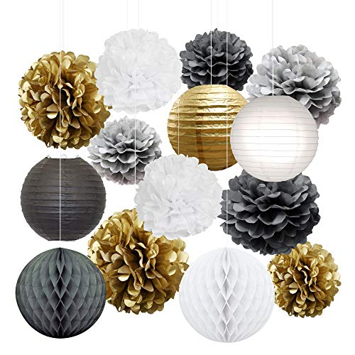 Tissue Paper Flowers Pom Poms Decorations - Bright Colorful Large Rainbow Craft Assorted Bulk Kit Hanging Wall for Big Wedding Birthday Party Decor (Gold Pack)