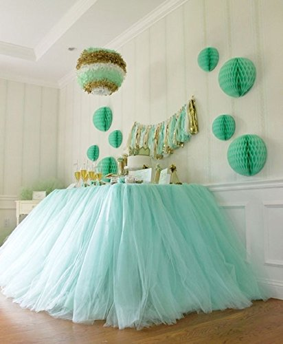 Originals Group Tutu Table Skirt , Mint Tulle Tutu Table Skirt Decor, Birthday Event Wedding Party Decoration (Mint) -
