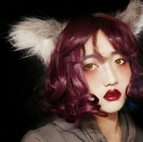 Whole wig hair short fluffy little egg rolls daily soft sister Scarlet rose Diablo series