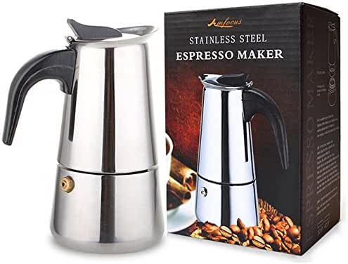 AMFOCUS Stovetop Espresso Maker Coffee Percolator Moka Pot, 2 Cup/100ml