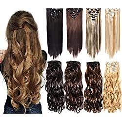 """N&T 7Pcs 16 Clips 20-24 Inch Thick Curly Straight Full Head Clip in on Double Weft Hair Extensions (20"""" Curly, Dark Brown #2-33)"""